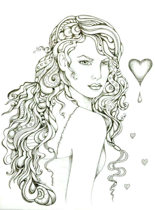 """Arlette Lucero(Denver, CO). """"Lady Love."""" Ink on Paper."""