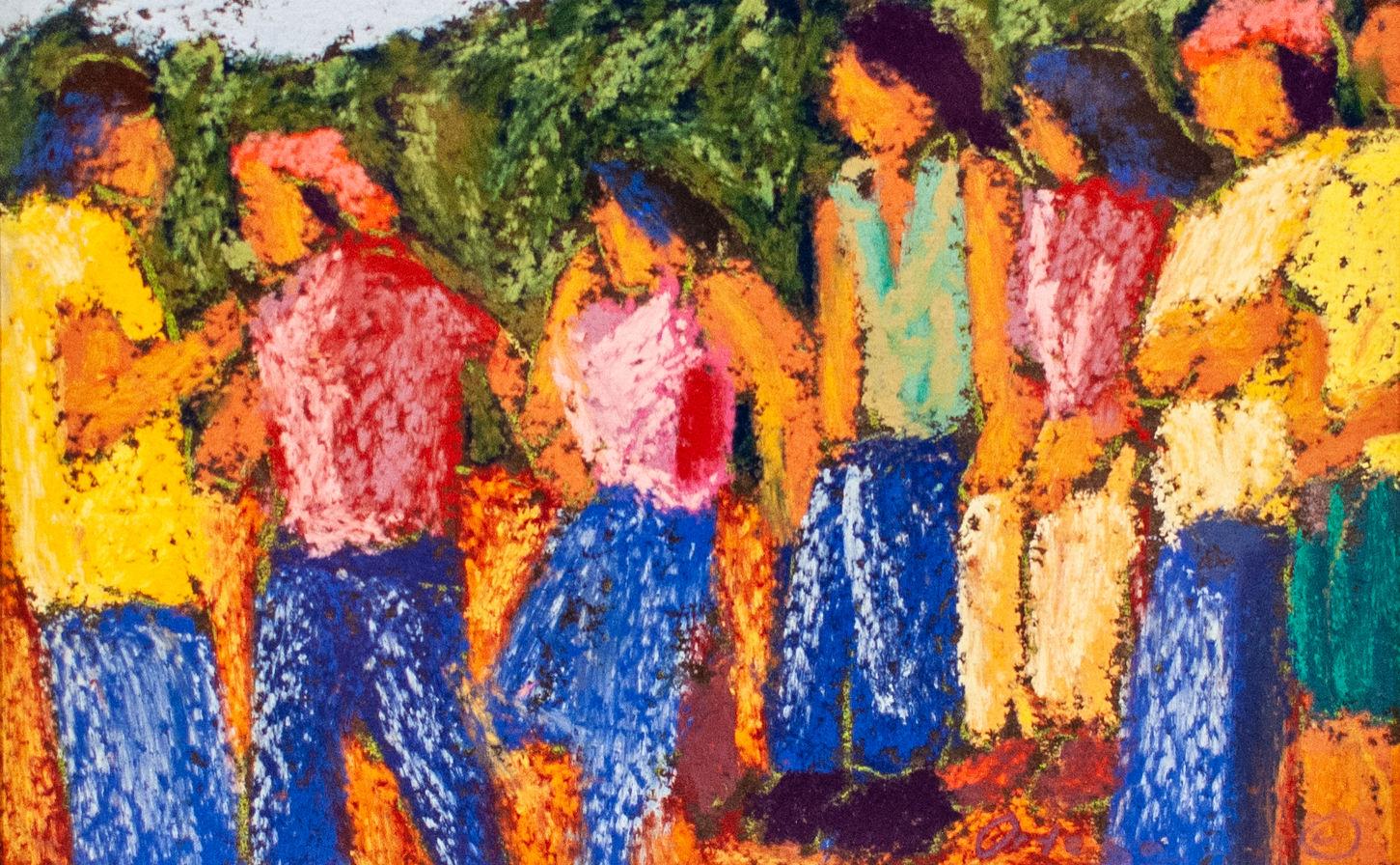 "Tony Ortega (Denver, CO). ""Jovenes"". Pastel Painting."