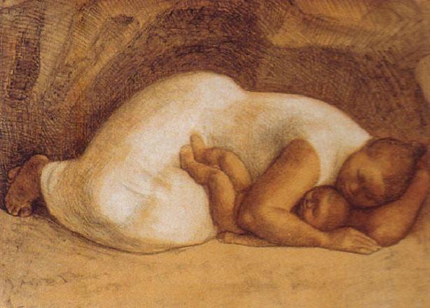 "Maestro Francisco Zúñiga (México). ""Madre Dormida"". Lithograph, 1982."
