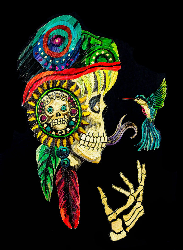 I.H. Mendoza (México). Straw (popote) on Paper #2
