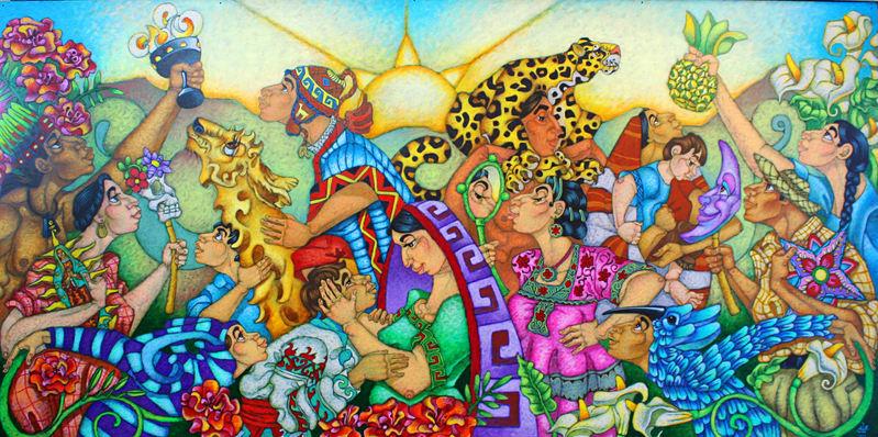 "David Ocelotl García (Denver, CO). ""Hijos del Sol"". Painting on Aluminum Panel, 2019."