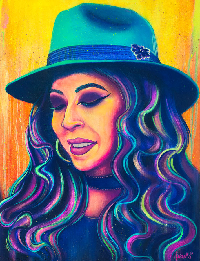 "Karma Leigh (Denver, CO). ""Yo Soy Xicana, Portrait of 'Xencs' Jimenez."" Acrylic on Canvas, 2019."