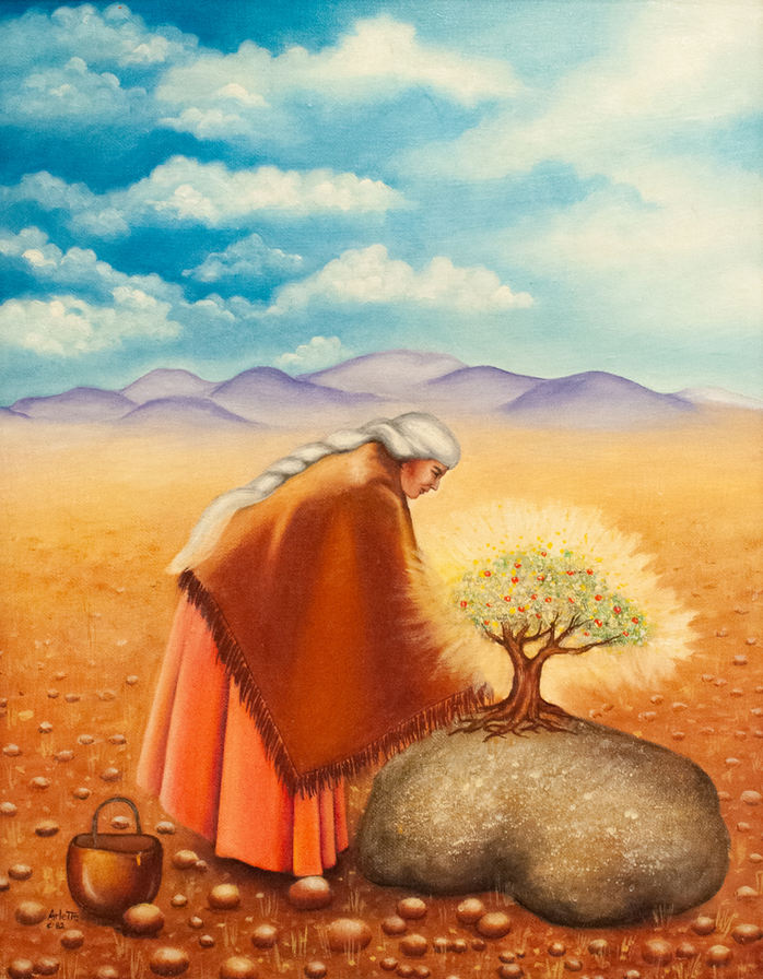 """Arlette Lucero (Denver, CO). """"Keeper of the Tree"""". Painting on Canvas."""