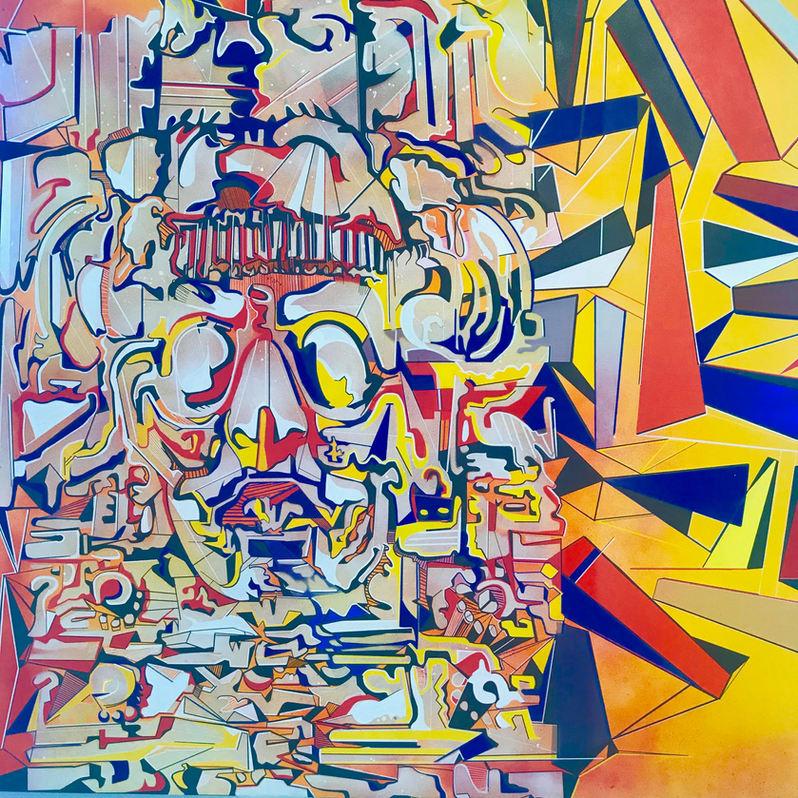 "Josiah Lee López (Denver, CO). ""Tonatiuh"". Painting on canvas, 2019."
