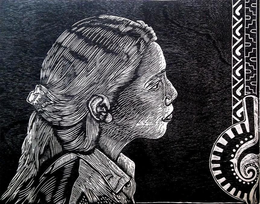 "René H. Arceo(Chicago, IL). ""Lilibeth"". Linocut, 2015."