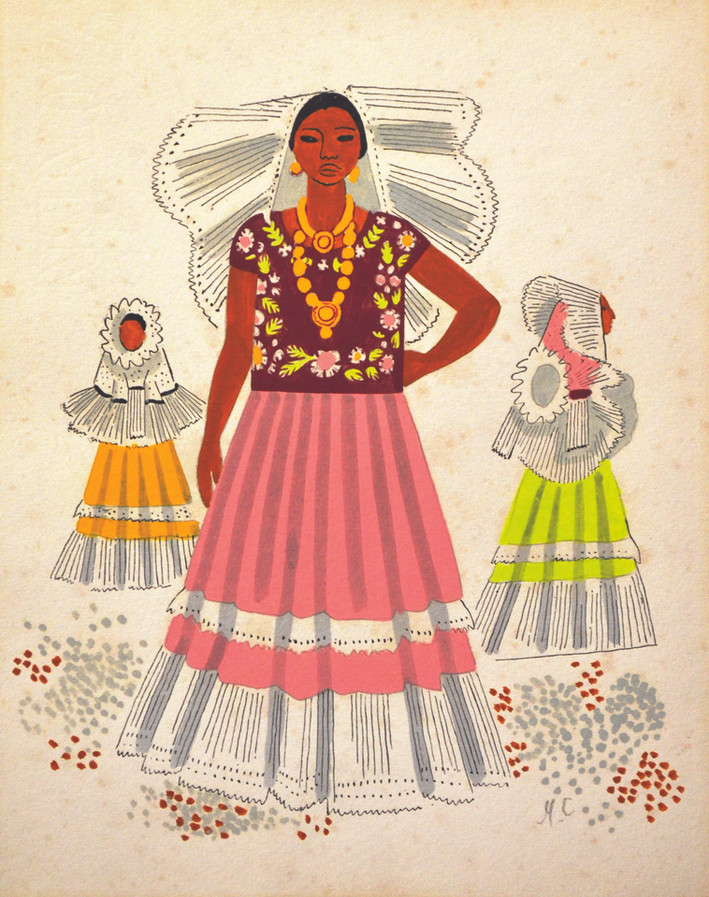 "Miguel Cobarrubias (México). ""Untilted Tehuanas de Oaxaca, México"". Ink on Paper. 1940."