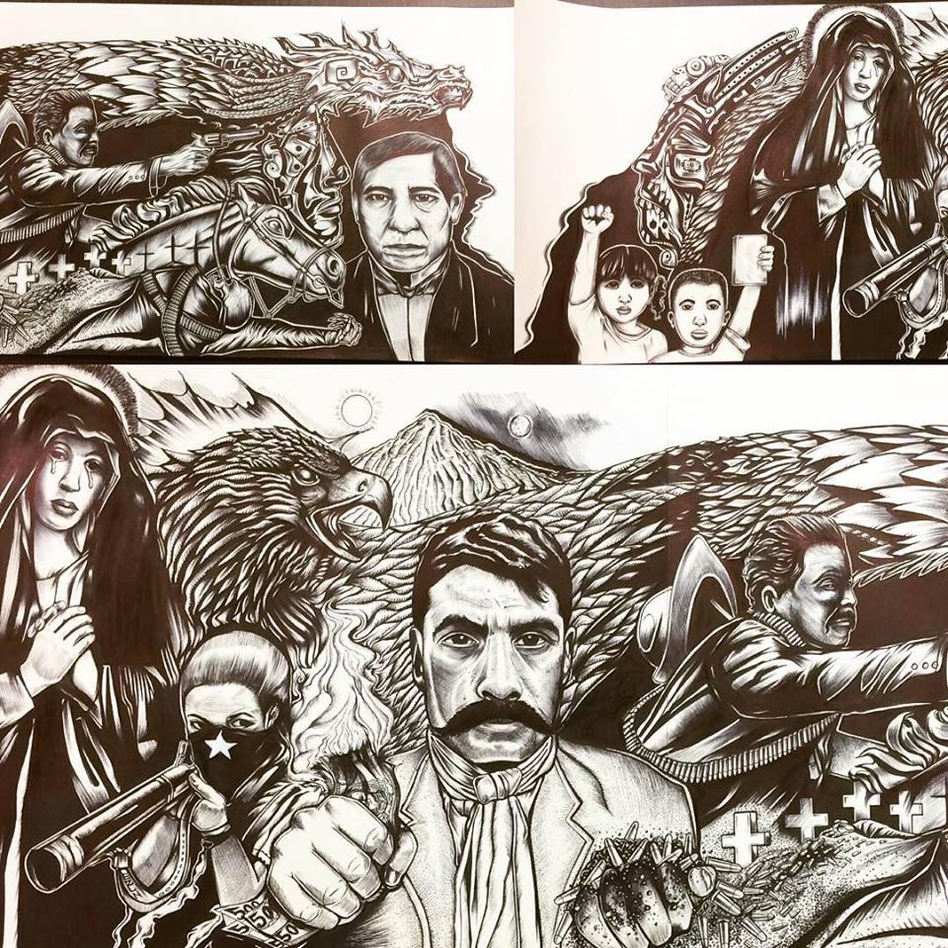 "Josiah Lee López. (Denver, CO). ""Heroes Revisited"". Ink on Paper, 2018."