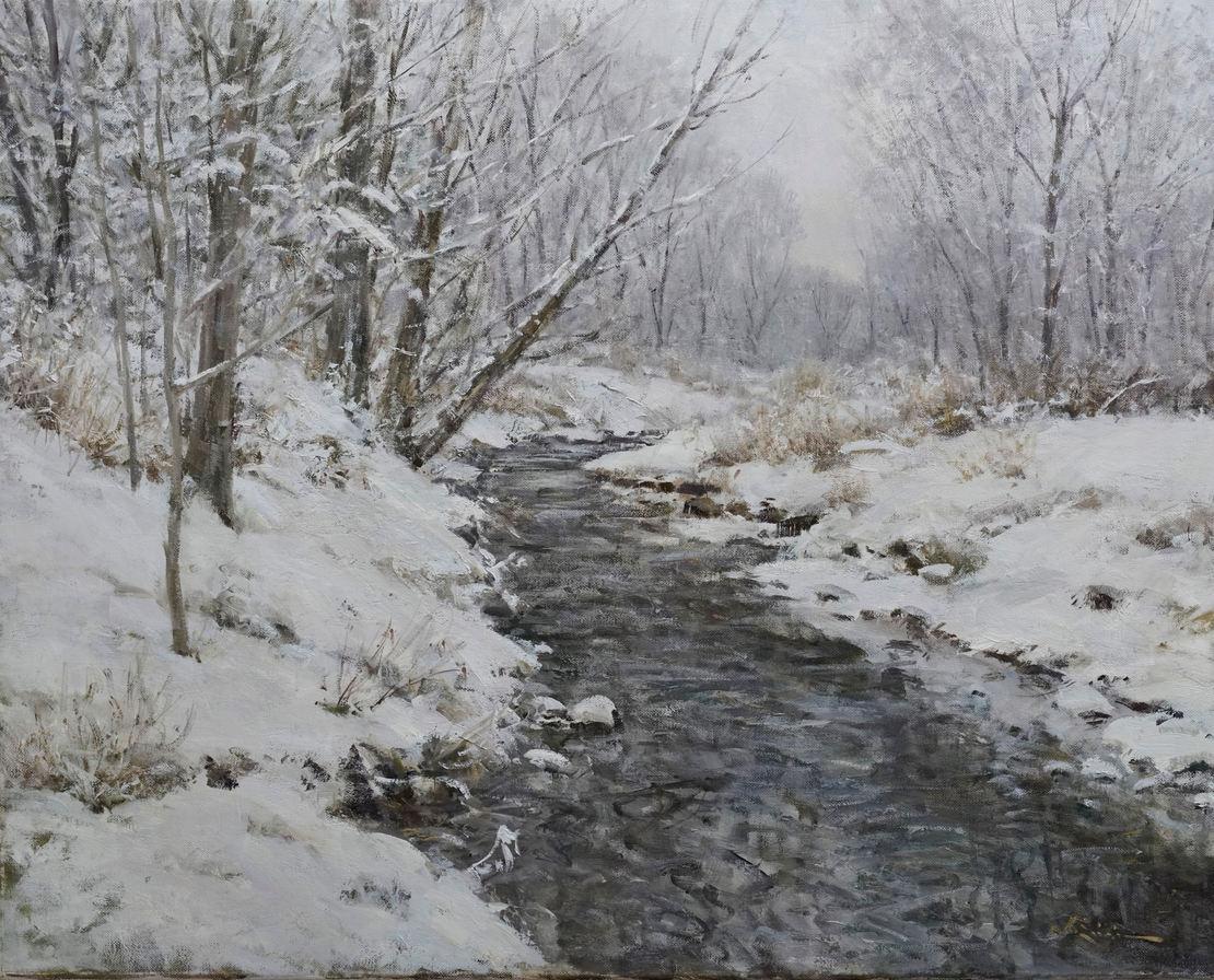 "John Encinias (Denver, CO). "" Winter Day, Arroyo Seco, New Mexico."". Painting on Canvas"