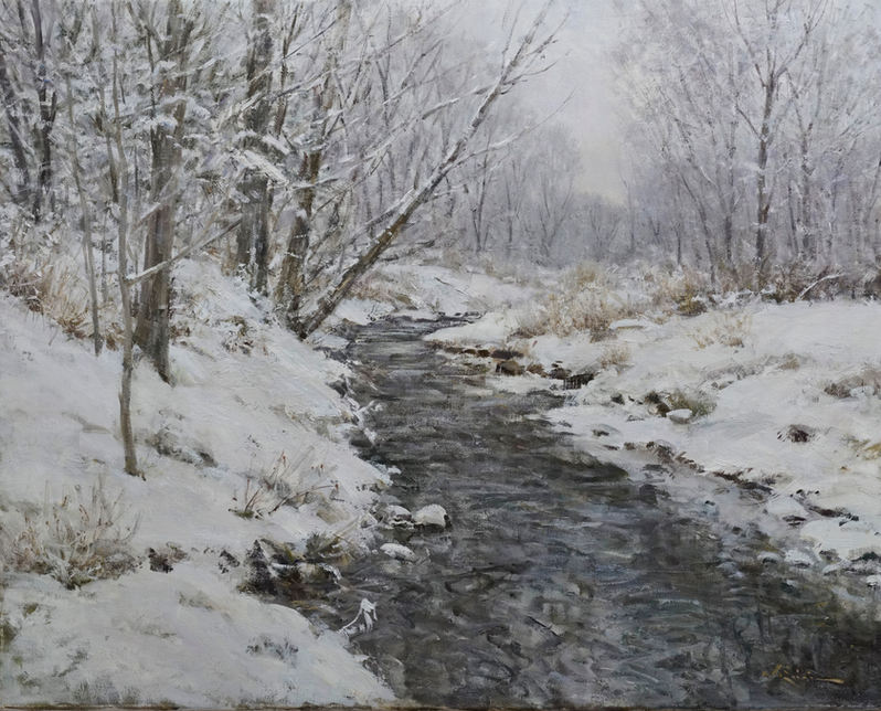 "John Encinias (Denver, CO). "" Winter Day, Arroyo Seco, New Mexico."". Painting on Canvas"