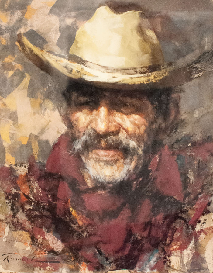 "Ramon Kelley (Denver, CO). ""Timoteo"". Framed Pastel Painting."