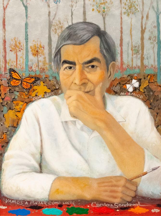 "Carlos Sandoval (San Luis, CO). ""Portrait of Luis Abarca"". Oil on Canvas"