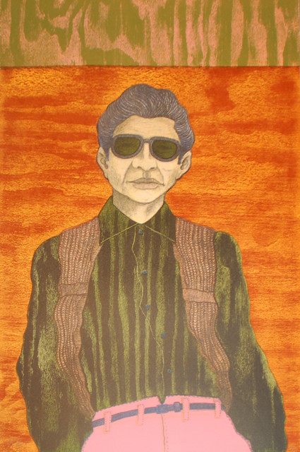 "César Martinez (San Antonio). ""El Pantalón Rosa. Lithograph, 1990."