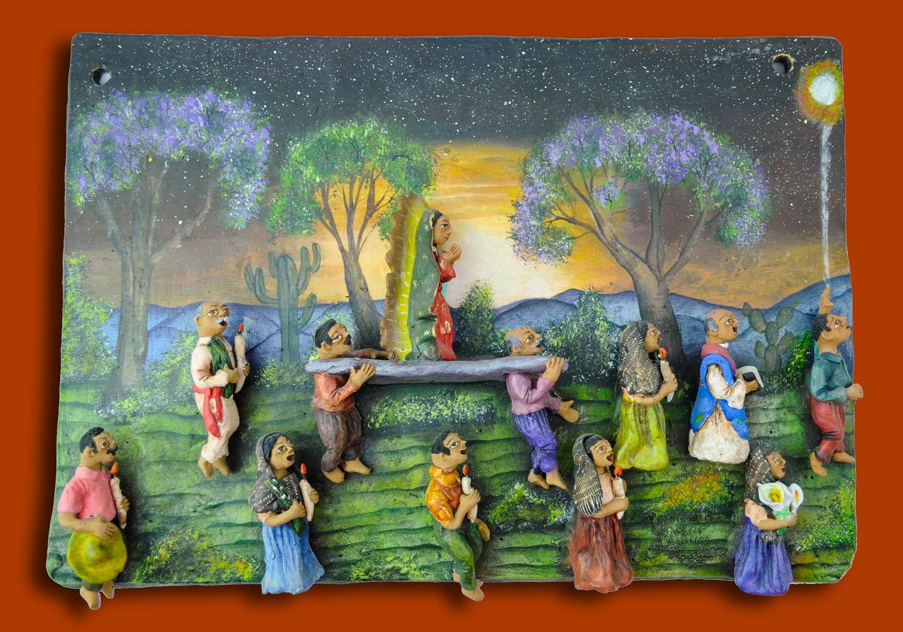 "Demetrio García Aguilar (Oaxaca, Mexico). ""Procession of the Virgin of Guadalupe. Ceramic."