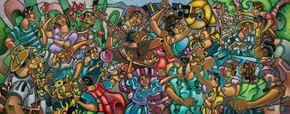 "David Ocelotl García (Denver, CO). ""La Fiesta"". Painting on canvas, 2017."