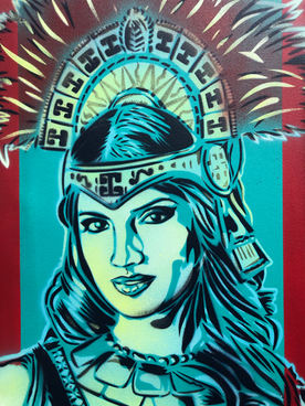 "Josiah Lee López (Denver, CO). ""Carmen in the Sun"". Mixed media painting on canvas."