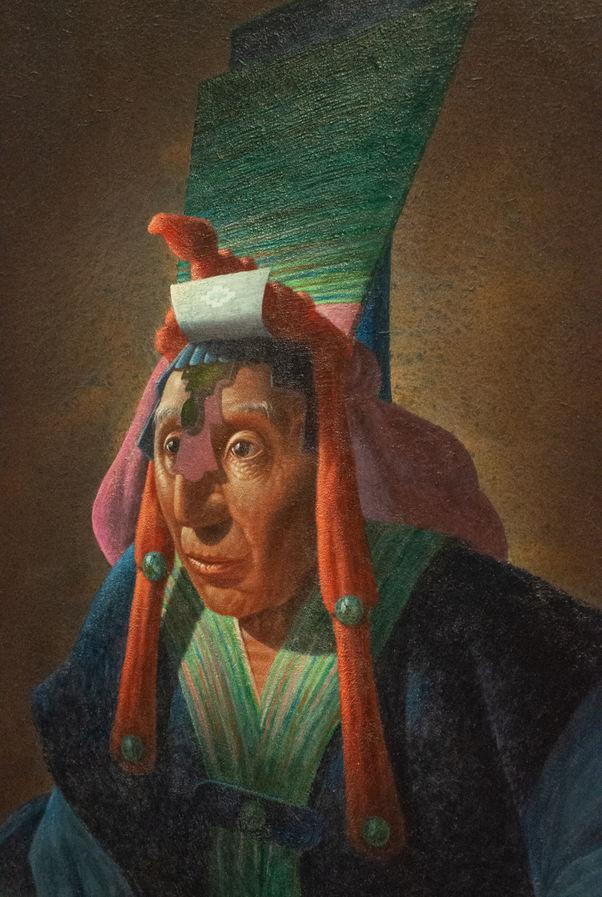"Miguel Gonzalez-Yeaton (Denver,CO). ""Mayan Priest"". Painting."
