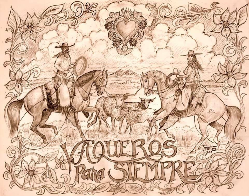 """Sofia Márquez (San Luis, CO). """"Vaqueros Para Siempre."""" Pencil Drawing, 2020."""