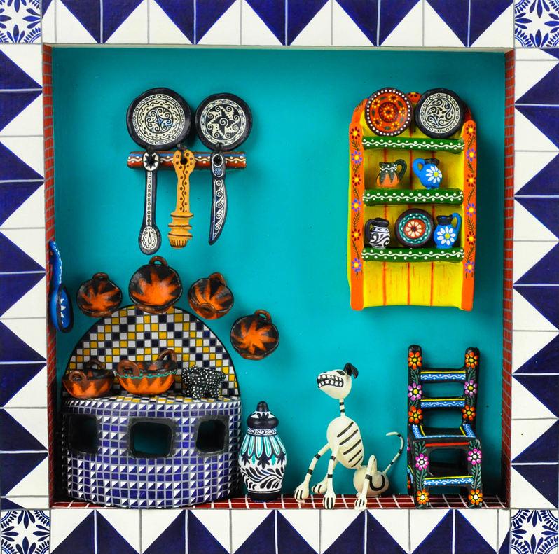 The Castillo Orta Family (Izúcar de Matamoros, Puebla, Mexico). Miniature kitchen scene. Ceramic, 2019.