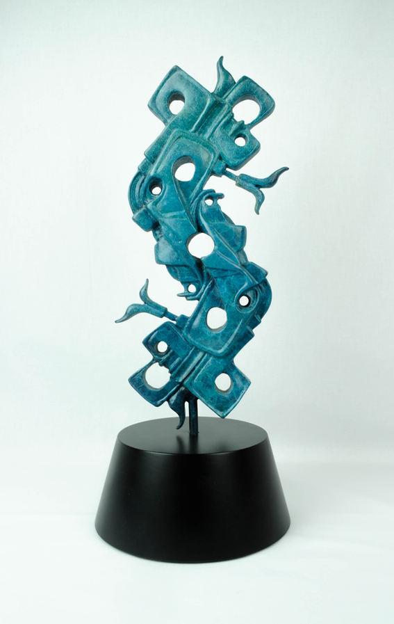 "David Ocelotl García (Denver, CO). ""Ollin"". Bronze Sculpture, 2004."
