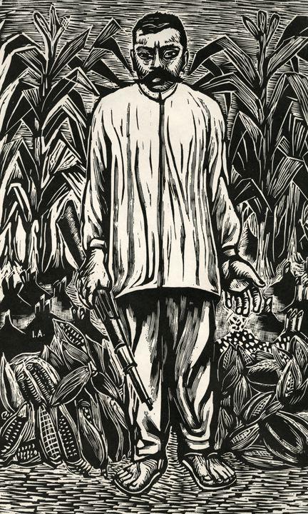 "Ignacio Aguirre. ""Zapata"". Woodblock Print."