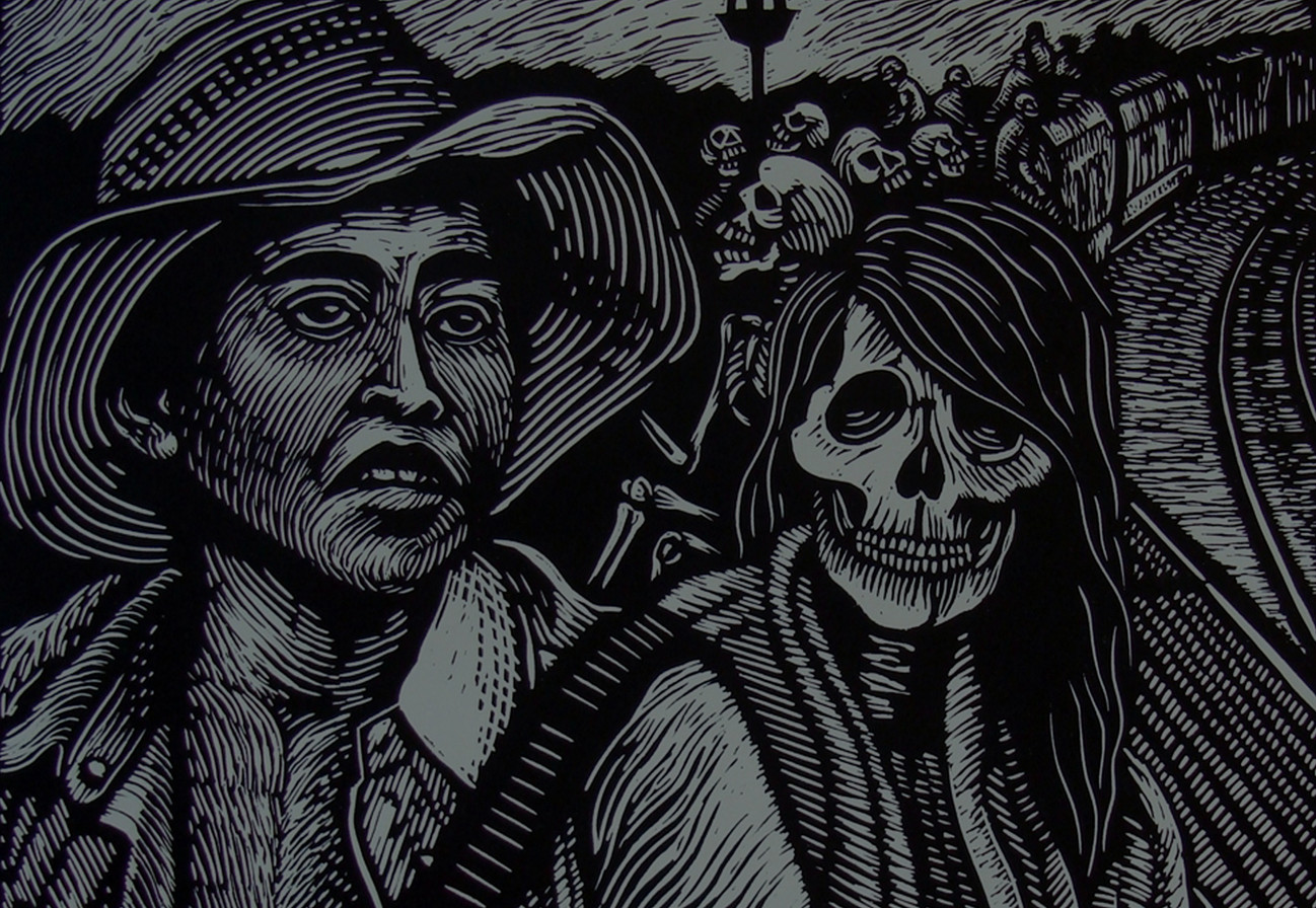"""Carlos Barberena (Chicago, IL). """"Riding the Beast"""". Linocut."""