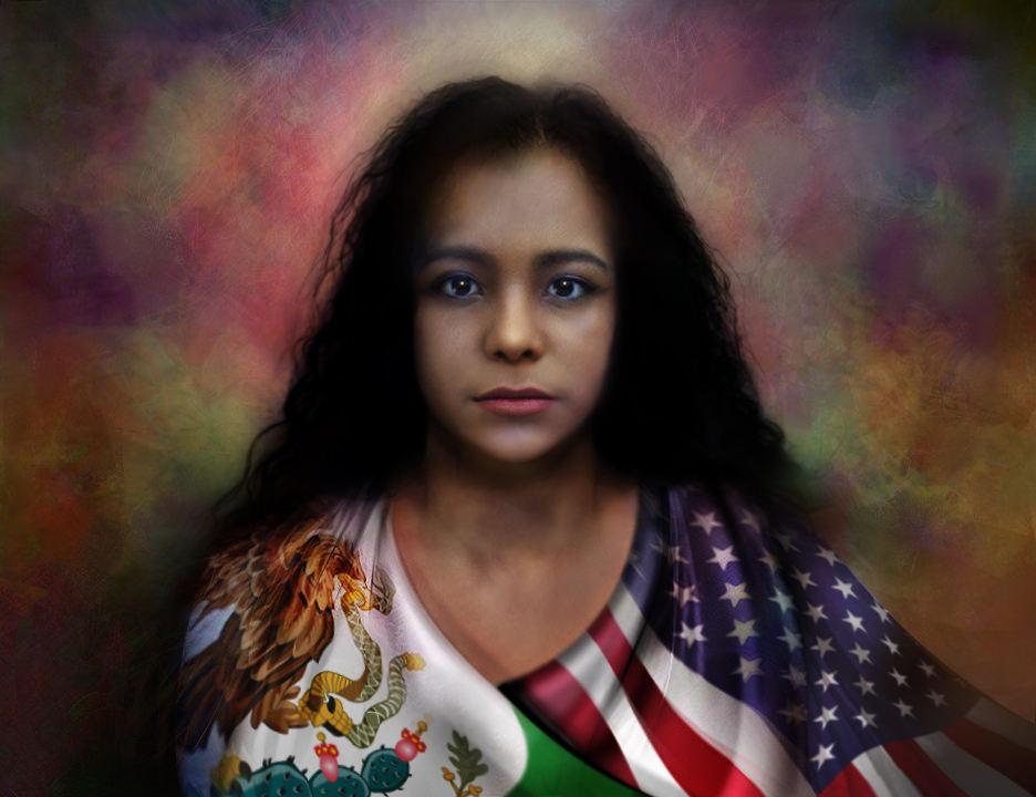 """Quintín González. (Denver, CO). """"Justicia"""". Digital painting, 2019."""