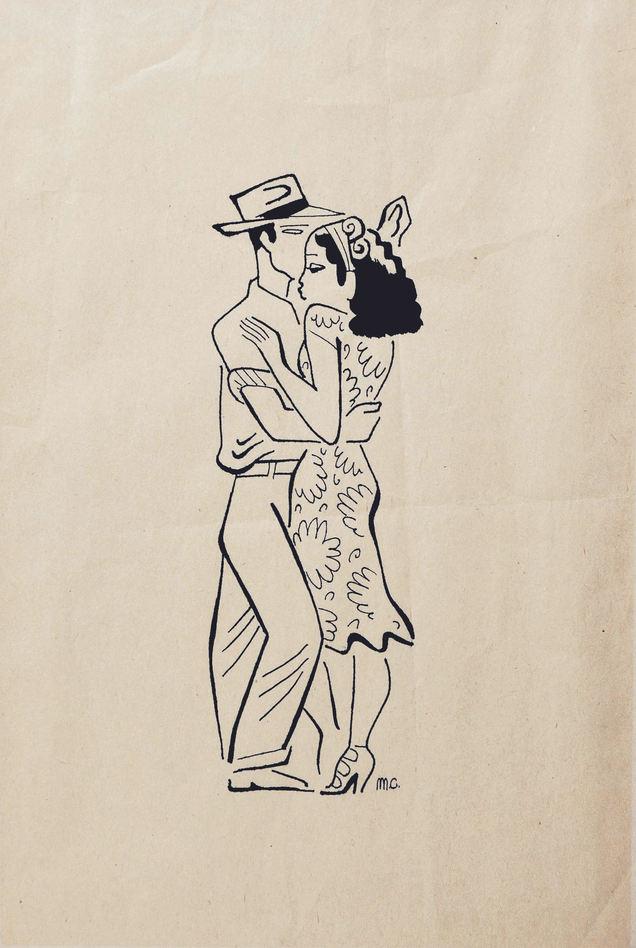 """Miguel Cobarrubias (México). """"El Fandango"""". Ink on Paper. 1940."""