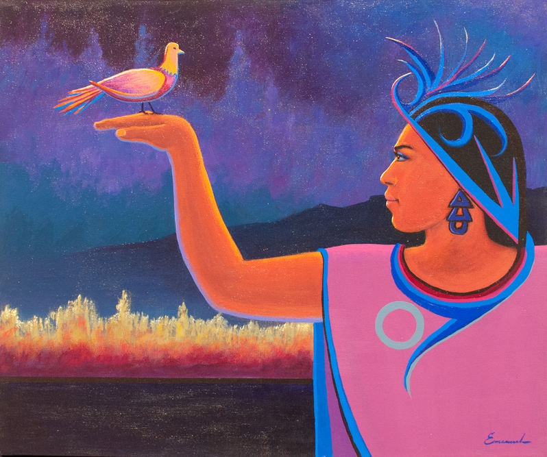 "Emanuel Martinez (Denver, CO). ""La Paloma"" Painting on Canvas."