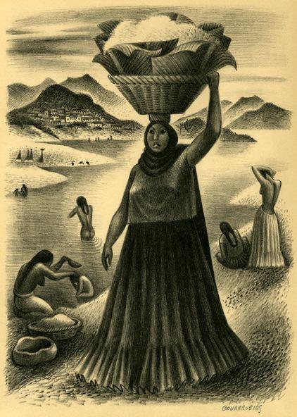 """Miguel Cobarrubias (México). """"Rio Tehuantepec Oaxaca, México"""". Lithograph. 1940."""