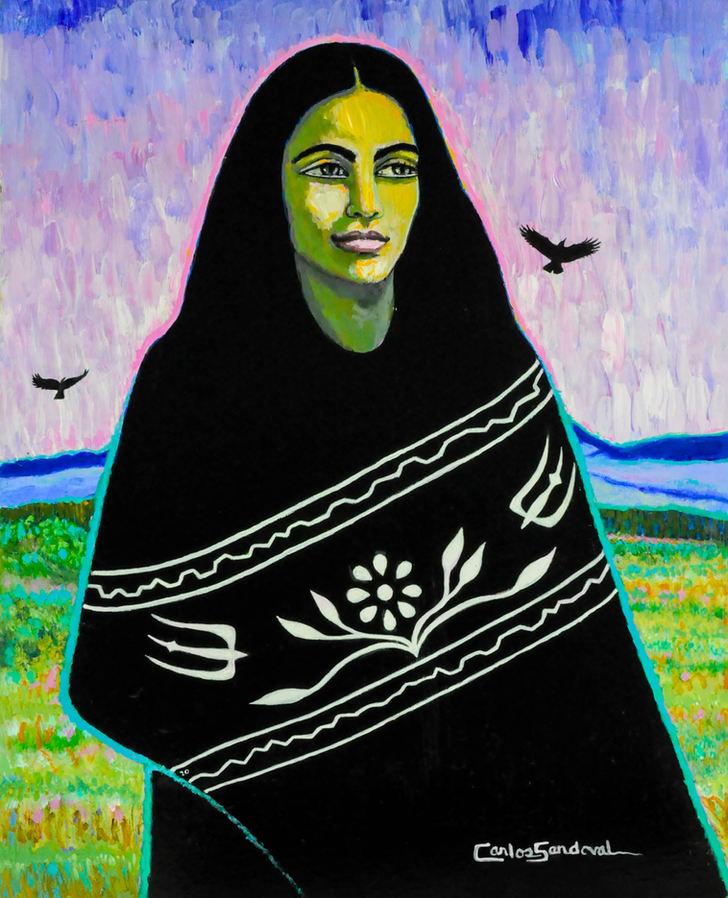 """Carlos Sandoval (San Luis, CO). """"La del Valle"""". Painting on Canvas"""