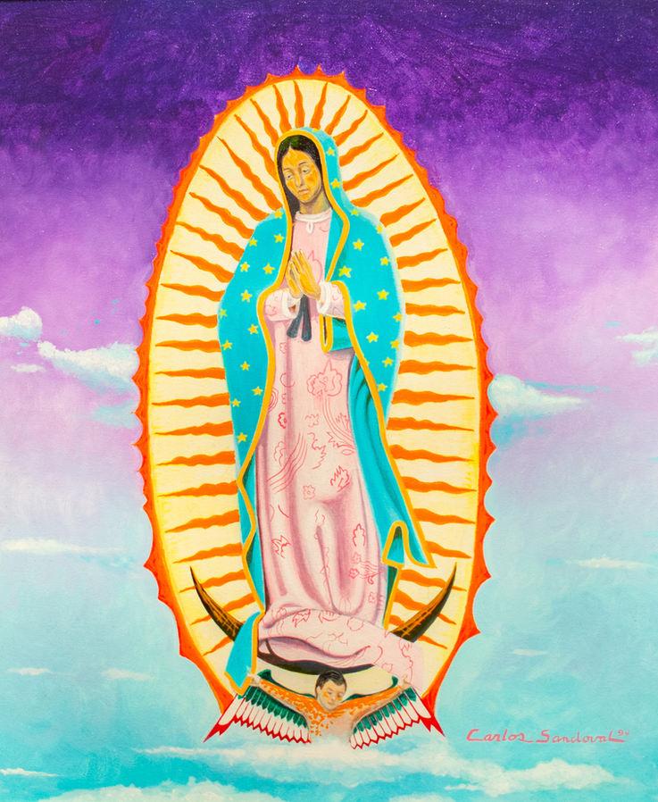 """Carlos Sandoval (San Luis, CO). """"Nuestra Sra. de Guadalupe."""" Acrylic on Canvas."""