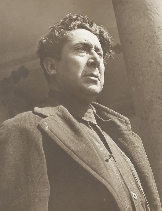 Bernard Silberstein (American). Portrait of Siqueiros. Sepia toned silver gelatin print, 1940.