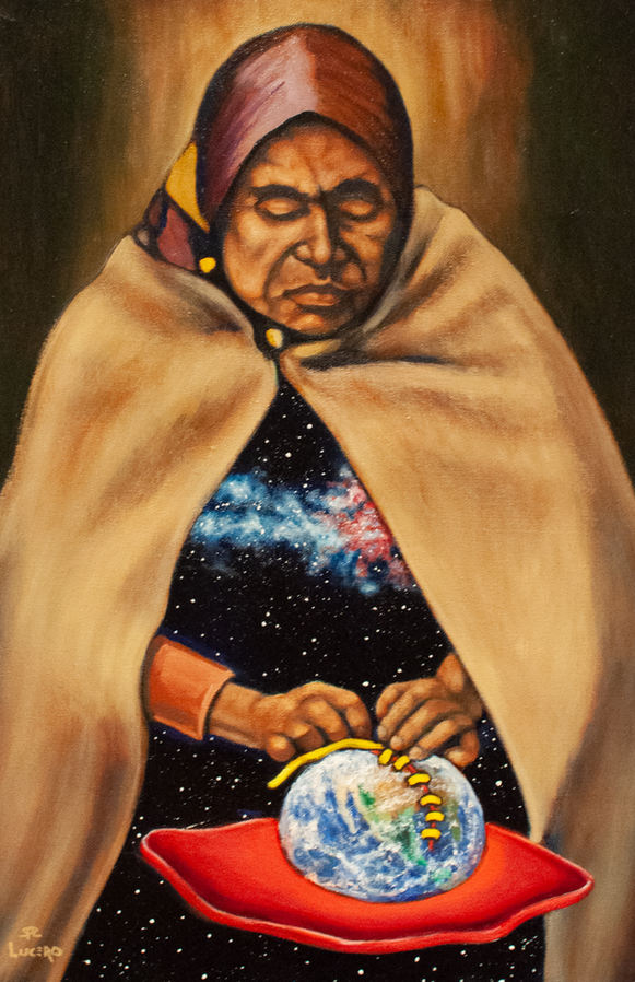 """Stevon Lucero (Denver, CO). """"Cosmic Seamstress"""". Painting on Canvas."""
