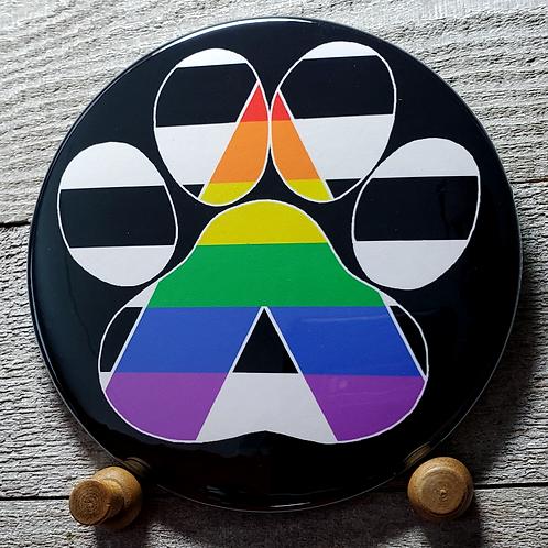 """LGBTQ+ Ally 3.5"""" Pride Paw Button"""