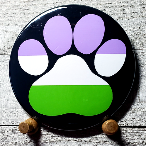 """Genderqueer  3.5"""" Pride Paw Button"""