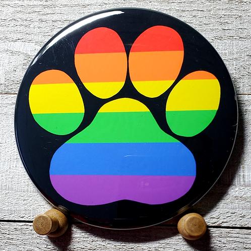 """LGBTQ+ 3.5"""" Pride Paw Button"""
