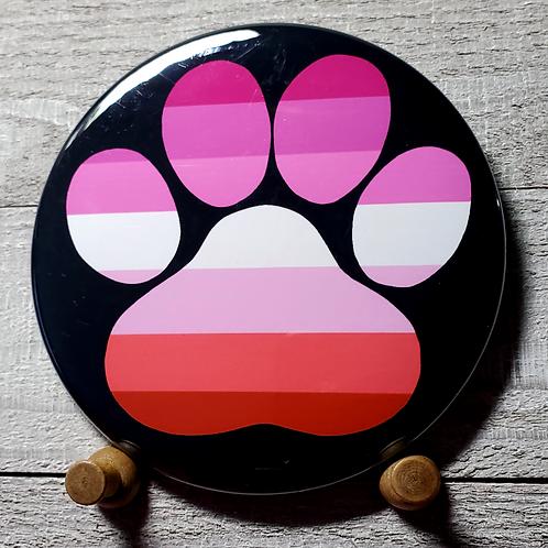 """Lesbian 3.5""""Pride Paw Button"""