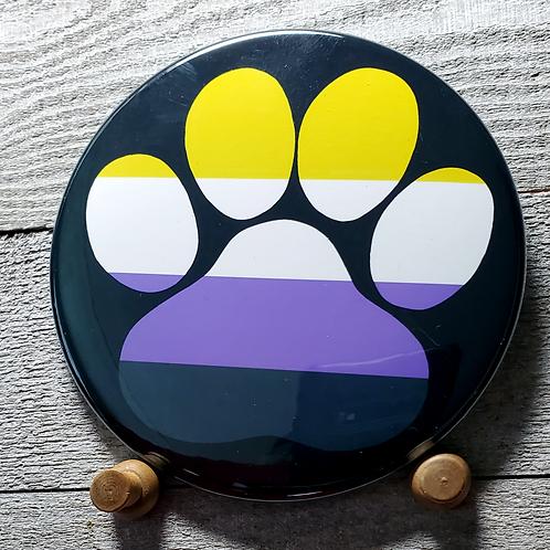 """Non Binary 3.5"""" Pride Paw Button"""