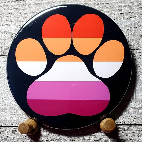 "New Lesbian 3.5""Pride Paw Button"