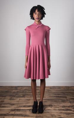 Mock Neck Dress - Raspberry