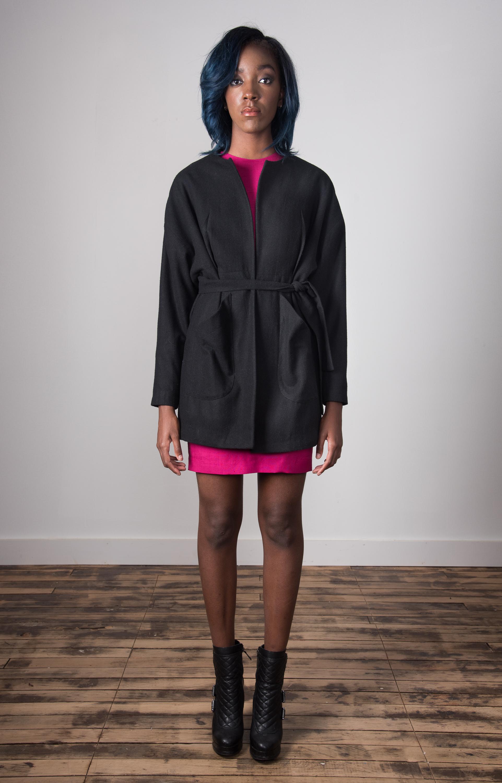Clester Coat Belted - Black