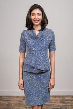 Tray Top & Cee Skirt (Marbled Blue)