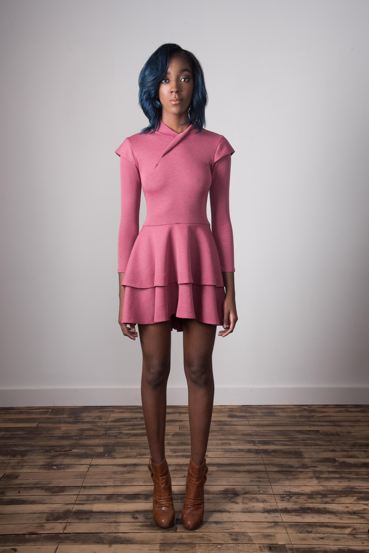 Mock Neck Dress Short - Raspberry
