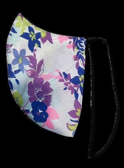 Purple Floral Single Elastic Reversible Mask