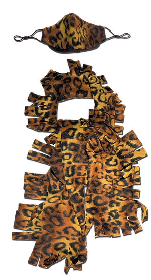 Leopard Fringe Scarf & Ear Loop Mask Set