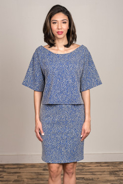 Jay Top & Cee Skirt (Marbled Blue)