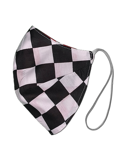 Black/Red Check Elastic Strap Reversible Mask