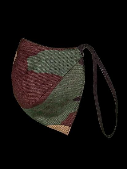 Camo/Black Elastic Strap Reversible Mask