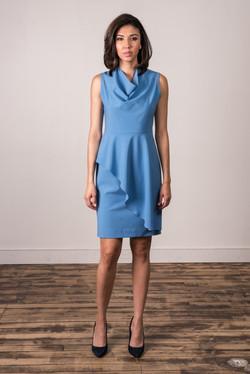 Cowl Peplum Dress (Cornflower Blue)