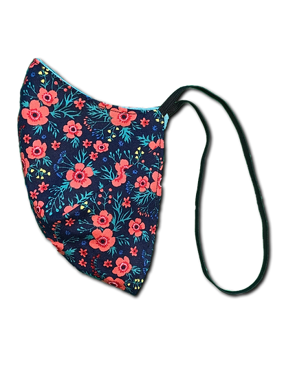 Tiny Floral/Washed Blue Elastic Strap Reversible Mask